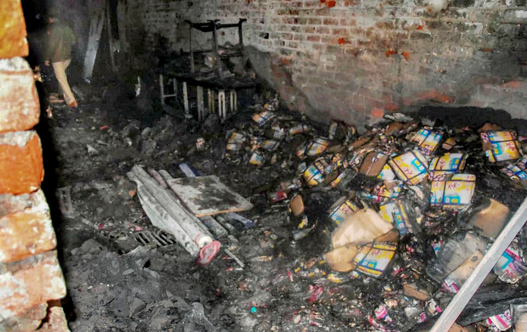 New Delhi: A view of the damage caused by a fire in a factory at Rani Jhansi Road, in New Delhi, Sunday, Dec. 8, 2019. Atleast 35 people were killed and several others injured in the mishap. (PTI Photo) (PTI12_8_2019_000008B)