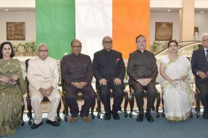 The Members, Lokpal in a group photograph with the Chairperson, Lokpal, Shri Justice P.C. Ghose, after the Swearing-in-Ceremony, in New Delhi on March 27, 2019.
