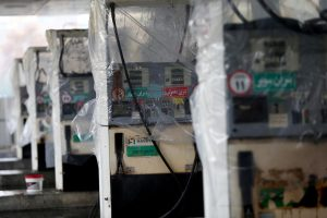 FILE PHOTO: Destroyed petrol pumps are pictured at a gas station, after protests against increased fuel prices, in Tehran, Iran November 20, 2019. Nazanin Tabatabaee/WANA (West Asia News Agency) via REUTERS