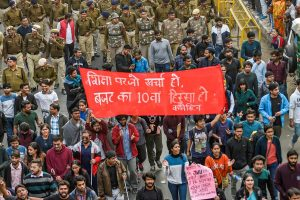 New Delhi: JNU students during their march from the University campus to Rashtrapati Bhavan to 'save public education', in New Delhi, Monday, Dec. 9, 2019. (PTI Photo/Kamal Singh)  (PTI12_9_2019_000282B)