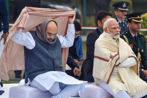 New Delhi: Prime Minister Narendra Modi and Home Minister Amit Shah, attend prayer meeting at Sadaiv Atal, the memorial of former prime minister A B  Vajpayee on his 95th birth anniversary,  in New Delhi, Wednesday, Dec. 25, 2019. (PTI Photo/Kamal Kishore)   (PTI12_25_2019_000016B)