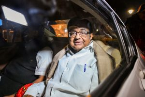 New Delhi: Senior Congress leader P Chidambaram, with his son Karti Chidambaram, leaves after meeting party President Sonia Gandhi at her residence at 10 Janpath in New Delhi, Wednesday night, Dec. 4, 2019. Chidambaram was released from Tihar jail after the Supreme Court on Wednesday granted bail to him in the INX Media money laundering case. (PTI Photo/Arun Sharma) (PTI12_4_2019_000256B)