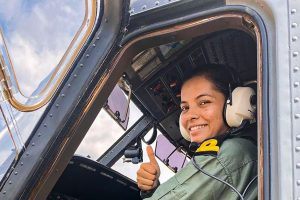 New Delhi: In this undated photo, Sub-lieutenant Shivangi gives thumbs up. Shivangi on Monday, Dec. 2, 2019, became the first woman pilot to join the Indian Navy on completion of operational training. Hailing from Muzzafarpur in Bihar, Shivangi joined operational duties at Kochi naval base and will be flying the Naval Dornier surveillance aircraft. (PTI Photo)(PTI12_2_2019_000192B)