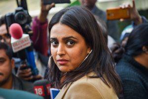 New Delhi: Actor Swara Bhaskar after an interaction with the media on the amended Citizenship Act, at Press Club of India in New Delhi, Thursday, Dec. 26, 2019. (PTI Photo/Subhav Shukla)   (PTI12_26_2019_000076B)
