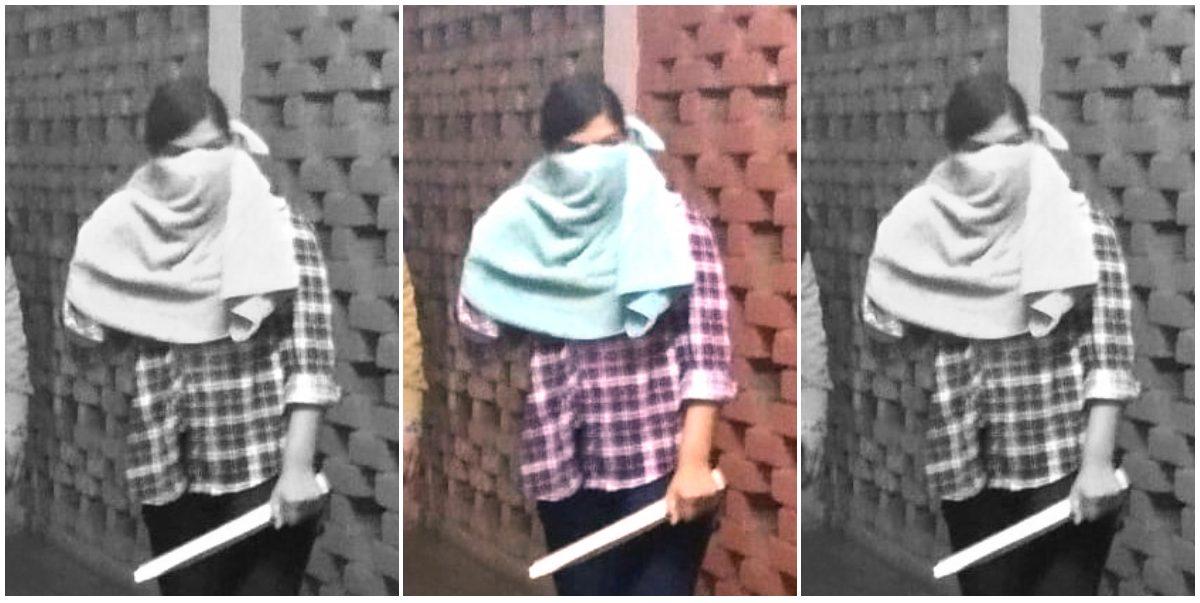 बीते पांच जनवरी को जेएनूय हिंसा से जुड़े कथित वीडियो में नजर आई युवती, जिसके बारे में दिल्ली पुलिस ने कहा है कि ये दिल्ली विश्वविद्यालय की छात्रा हैं और एबीवीपी से जुड़ी हुई हैं. (फोटो साभार: ट्विटर)