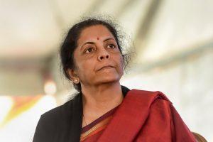 New Delhi: Union Finance Minister Nirmala Sitharaman during National Traders Convention at Ramlila ground in New Delhi, Tuesday, Jan. 7, 2020. (PTI Photo/Shahbaz Khan)(PTI1_7_2020_000113B)