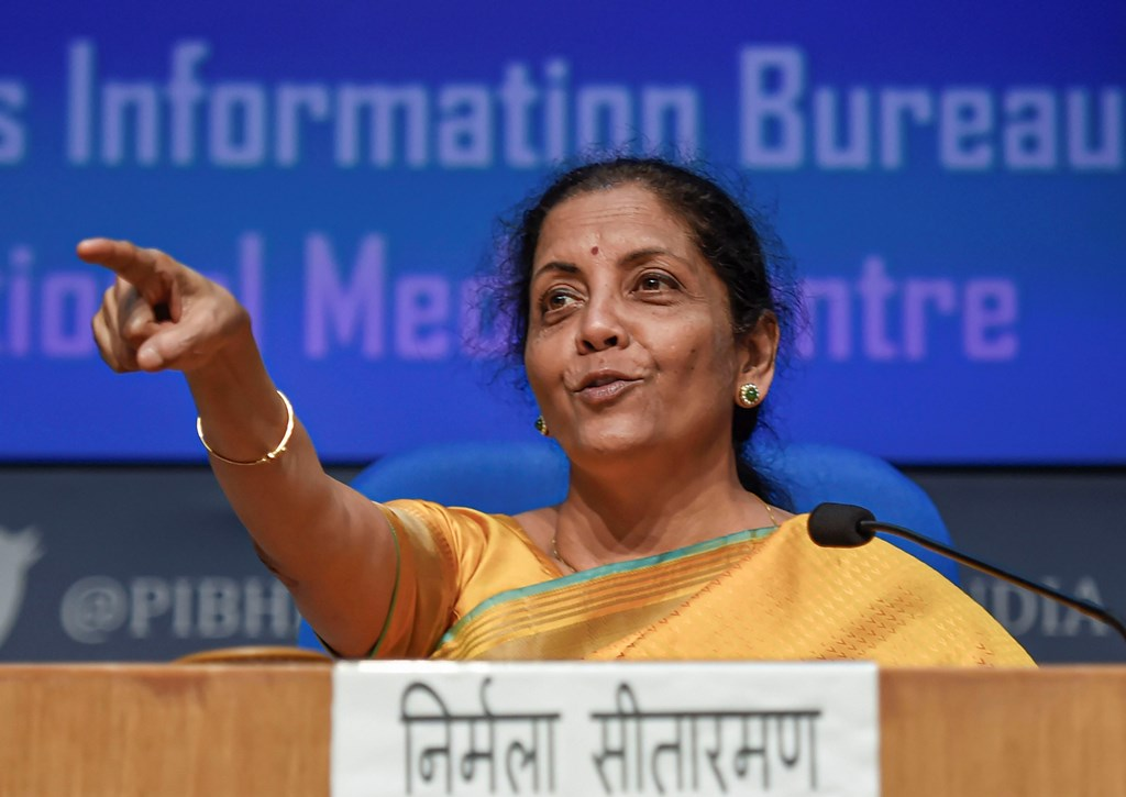 New Delhi: Union Finance Minister Nirmala Sitharaman during the post-budget press conference in New Delhi, Saturday, Feb. 1, 2020. Sitharaman presented the Union Budget 2020-21 in the Lok Sabha today. (PTI Photo/Kamal Singh)(PTI2_1_2020_000189B)