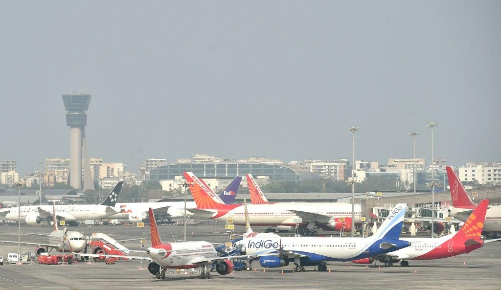 Mumbai: Aeroplanes on runway as all the domestic and international flights were cancelled after lockdown following the coronavirus pandemic in Mumbai, Tuesday, March 24, 2020. (PTI Photo/Mitesh Bhuvad)(PTI24-03-2020 000101B)