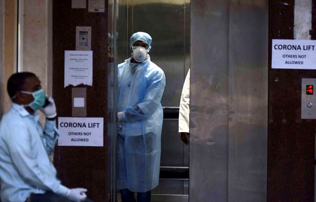 Hyderabad: Medics outside an isolation ward of coronavirus at Gandhi Hospital in Hyderabad, Tuesday, March 3, 2020. Two more positive cases of the novel coronavirus -- one in Delhi and another in Telangana -- have been reported in the country. (PTI Photo) (PTI03-03-2020_000174B) *** Local Caption ***