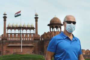 New Delhi: A visitor wears a mask to mitigate the spread of coronavirus, at Red Fort in New Delhi, Thursday, March 12, 2020. (PTI Photo/Arun Sharma)(PTI12-03-2020_000125B)