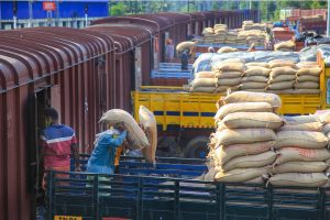 Kanyakumari: Workers transfer sacks containing rice grain from a goods train to trucks for further transportation, during the nationwide lockdown to curb the spread of c0ronavirus, at Nagercoil in Kanyakumari district, Thursday, April 23, 2020. (PTI Photo)(PTI23-04-2020_000168B)