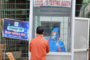 Ranchi: A health worker takes samples for a swab test, during the nationwide lockdown to curb the spread of coronavirus, at a school in Ranchi, Friday, April 24, 2020. (PTI Photo)(PTI24-04-2020 000075B)
