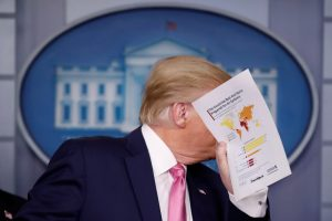 U.S. President Trump holds news conference on the coronavirus outbreak at the White House in Washington. Reuters Photo