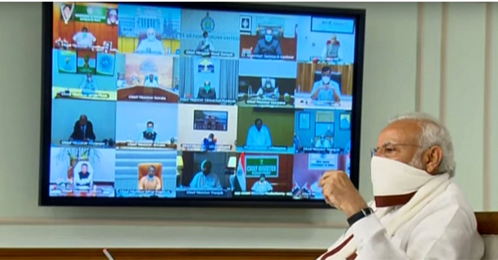 EDS PLS TAKE NOTE OF THIS PTI PICK OF THE DAY:::::::: **EDS: VIDEO GRAB** New Delhi: Prime Minister Narendra Modi wearing a protective mask chairs a meeting with chief ministers on COVID-19 lockdown via video conference, in New Delhi, Saturday, April 11, 2020. (PTI Photo) (PTI11-04-2020_000045B)(PTI11-04-2020_000222B)
