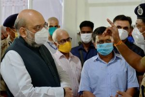 New Delhi: Home Minister Amit Shah with Delhi Chief Minister Arvind Kejriwal visits Sardar Patel COVID Care Centre and Hospital, in New Delhi, Saturday June 27, 2020. (PTI Photo/Kamal Kishore)(PTI27-06-2020 000173B)