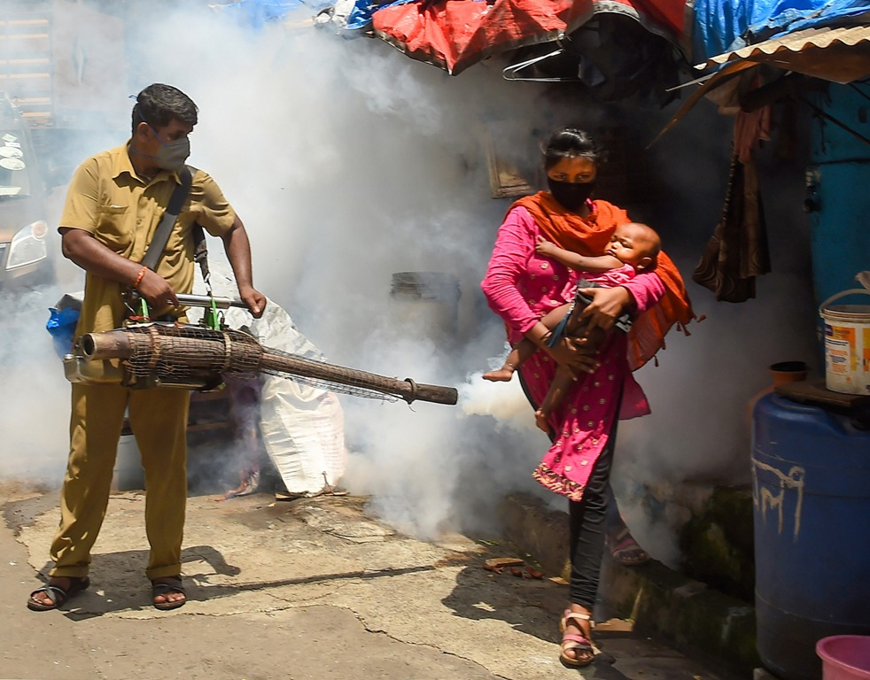 Mumbai: A BMC worker carries out fumigation work as part of the preventive measures against malaria ahead of Monsoon season, at Mazgaon in Mumbai, Thursday, June 11, 2020. (PTI Photo/Kunal Patil) (PTI11-06-2020 000022B)