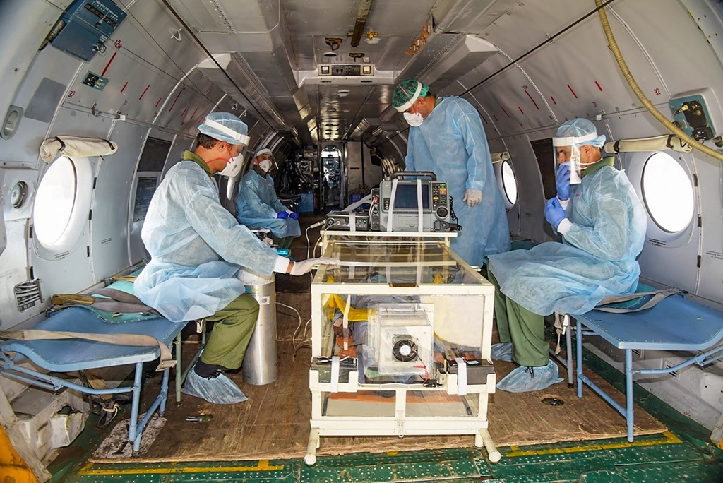 New Delhi: In this handout photo provided by Defense PRO on Monday, June 8, 2020, Airborne Rescue Pod for Isolated Transportation (ARPIT) loaded in a Chinook heavy lift helicopter. This pod will be utilised for evacuation of critical patients with infectious diseases including COVID-19 from high altitude area, isolated and remote places. (PTI Photo