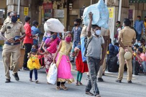 Chennai: Migrants arrive at Central Railway Station to board a Shramik Special train for West Bengal, during ongoing COVID-19 lockdown, in Chennai, Wednesday, June 3, 2020. (PTI Photo/R Senthil Kumar)(PTI03-06-2020_000261B)