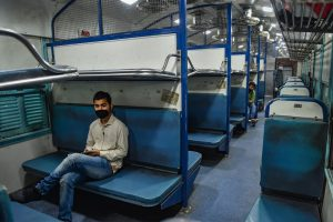 Lucknow: Passengers sit in a coach of the first special train leaving for New Delhi from the Charbagh Railway Station after the end of COVID-19 lockdown 4.0, in Lucknow, Monday, June 1, 2020. Indian Railways has resumed operations of 200 passenger trains from June 1. (PTI Photo/ Nand Kumar) (PTI01-06-2020_000046B)
