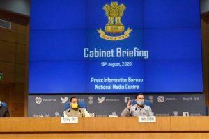 कैबिनेट बैठक में लिए गए फैसलों की जानकारी देते केंद्रीय मंत्री प्रकाश जावड़ेकर और जितेंद्र सिंह. (फोटो साभार: पीआईबी)