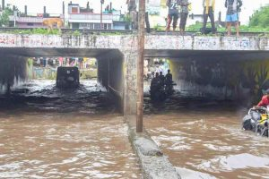 Commuters move through a waterlogged underpass after heavy rainfall in Bhopal Saturday Aug 29 2020. (Photo   PTI)