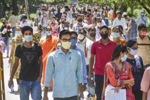 Varanasi: Students come out after appearing in the B.Ed entrance exam, at Banaras Hindu University in Varanasi, Sunday, Aug 30, 2020. (PTI Photo)(PTI30-08-2020_000045B)
