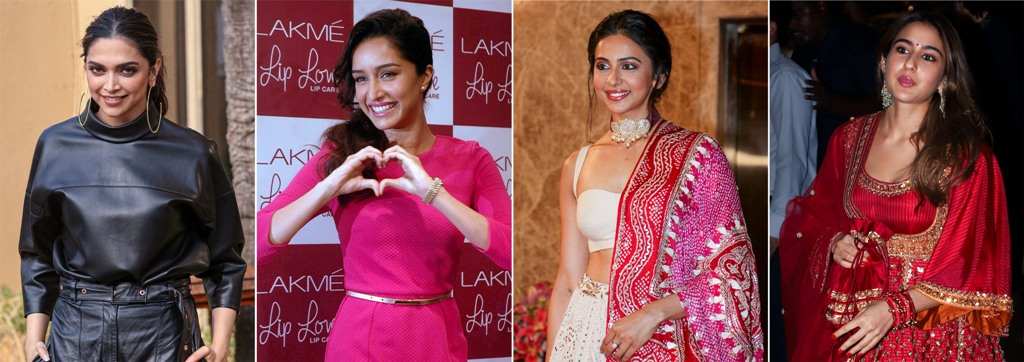 New Delhi: File photos of Bollywood actors (L-R) Deepika Padukone, Shraddha Kapoor, Rakul Preet Singh, and Sara Ali Khan who are summoned by the Narcotics Control Bureau (NCB) in the Bollywood drug probe linked to the death of Sushant Singh Rajput, on Wednesday, Sept. 23, 2020. (PTI Photo)(PTI23-09-2020 000211B)