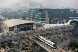 Gurugram: Delhi Metro and Rapid Metro trains leave Sikandarpur station after DMRC resumed services in a graded manner, amid the ongoing coronavirus pandemic, in Gurugram, Monday, Sept. 7, 2020. (PTI Photo)(PTI07-09-2020 000143B)