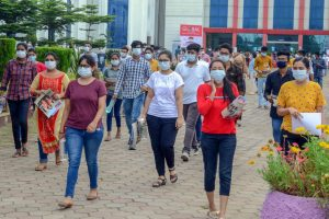 Jabalpur: Students leave an examination centre after appearing for the JEE 2020 entrance papers, amid the ongoing coronavirus pandemic, in Jabalpur, Wednesday, Sept. 2, 2020. (PTI Photo)(PTI02-09-2020 000077B)