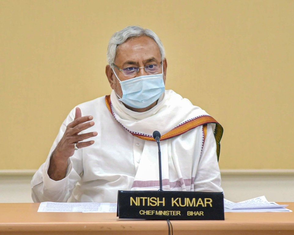 Patna: Bihar Chief Minister Nitish Kumar inaugurates schemes of Jal Jeevan Hariyali Abhiyan through video conferencing, in Patna, Monday, Aug. 10, 2020. (PTI Photo)(PTI10-08-2020 000133B)