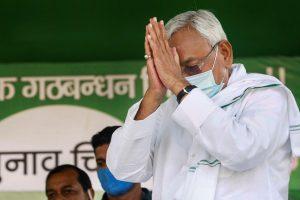 Jamui: Bihar Chief Minister Nitish Kumar greets a gathering during an election meeting, in Jamui, Thursday, Oct. 15, 2020. (PTI Photo) (PTI15-10-2020 000109B)