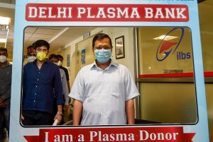 New Delhi: Delhi Chief Minister Arvind Kejriwal visits the Plasma Bank at ILBS Hospital in New Delhi, Thursday, July 2, 2020. (PTI Photo/Kamal Singh) (PTI02-07-2020 000125B)New Delhi: Delhi Chief Minister Arvind Kejriwal visits the Plasma Bank at ILBS Hospital in New Delhi, Thursday, July 2, 2020. (PTI Photo/Kamal Singh) (PTI02-07-2020 000125B)