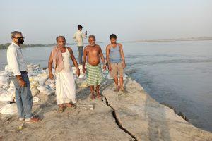 कोसी नदी डागमारा चुरियासी गांव के पास कटान कर रही है. (सभी फोटो: मनोज सिंह)