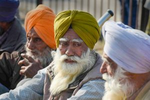 New Delhi: Farmers at Singhu border during their ongoing protest march Delhi Chalo against Centres new farm laws, in New Delhi, Sunday, Nov. 29, 2020. (PTI Photo/Atul Yadav)(PTI29-11-2020 000032B)
