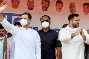 बिहार के नवादा में राजद नेता तेजस्वी यादव के साथ राहुल गांधी. (फोटो: पीटीआई)