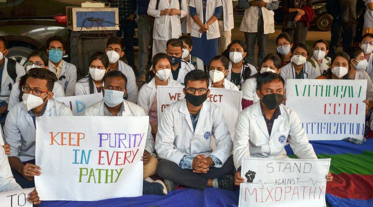 Guwahati: Members of Junior doctors' Association stage a protest in solidarity with Indian Medical Association's strike against Mixopathy and demanding the withdrawal of CCIM notification, at Guwahati Medical College and Hospital in Guwahati, Friday, 11 December 2020. (PTI Photo)