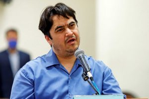 Ruhollah Zam, a dissident journalist who was captured in what Tehran calls an intelligence operation, speaks during his trial in Tehran, Iran June 2, 2020. Picture taken June 2, 2020. Mizan News Agency/WANA (West Asia News Agency) via REUTERS