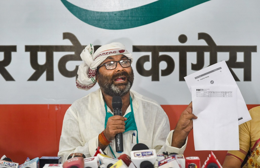 Lucknow: Uttar Pradesh Congress Committee (UPCC) president Ajay Kumar Lallu addresses a press conference at the party office, in Lucknow, Thursday, July 2, 2020. (PTI Photo/ Nand Kumar) (PTI02-07-2020 000129B)