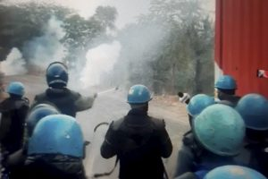 Teargas shells fired by Police after farmers tried marching towards Delhi, to join the main agitation against the Centers farm laws, at Masani barrage near Dharuhera town in Rewari district, Sunday, January 3, 2021. Photo: PTI