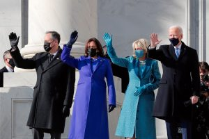 President-elect Joe Biden, his wife Jill Biden, Vice President-elect Kamala Harris and her husband Doug Emhoff salute as they arrive ahead of the inauguration of Biden, in Washington, January 20, 2021. Photo: Reuters/Mike Segar