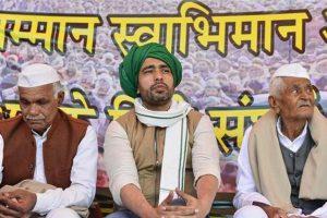 अलीगढ़ किसान महापंचायत में आरएलडी नेता जयंत चौधरी. (फोटो: पीटीआई)