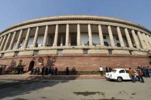 New Delhi: Parliament House during the Budget Session of the Parliament, in New Delhi, Monday, Feb. 1, 2021. Finance Minister Nirmala Sitharaman replaced the 'bahi khata' and switched to a tablet, with the Union Budget set to be delivered in paperless form for the first time. (PTI Photo/Manvender Vashist)(PTI02_01_2021_000044B)