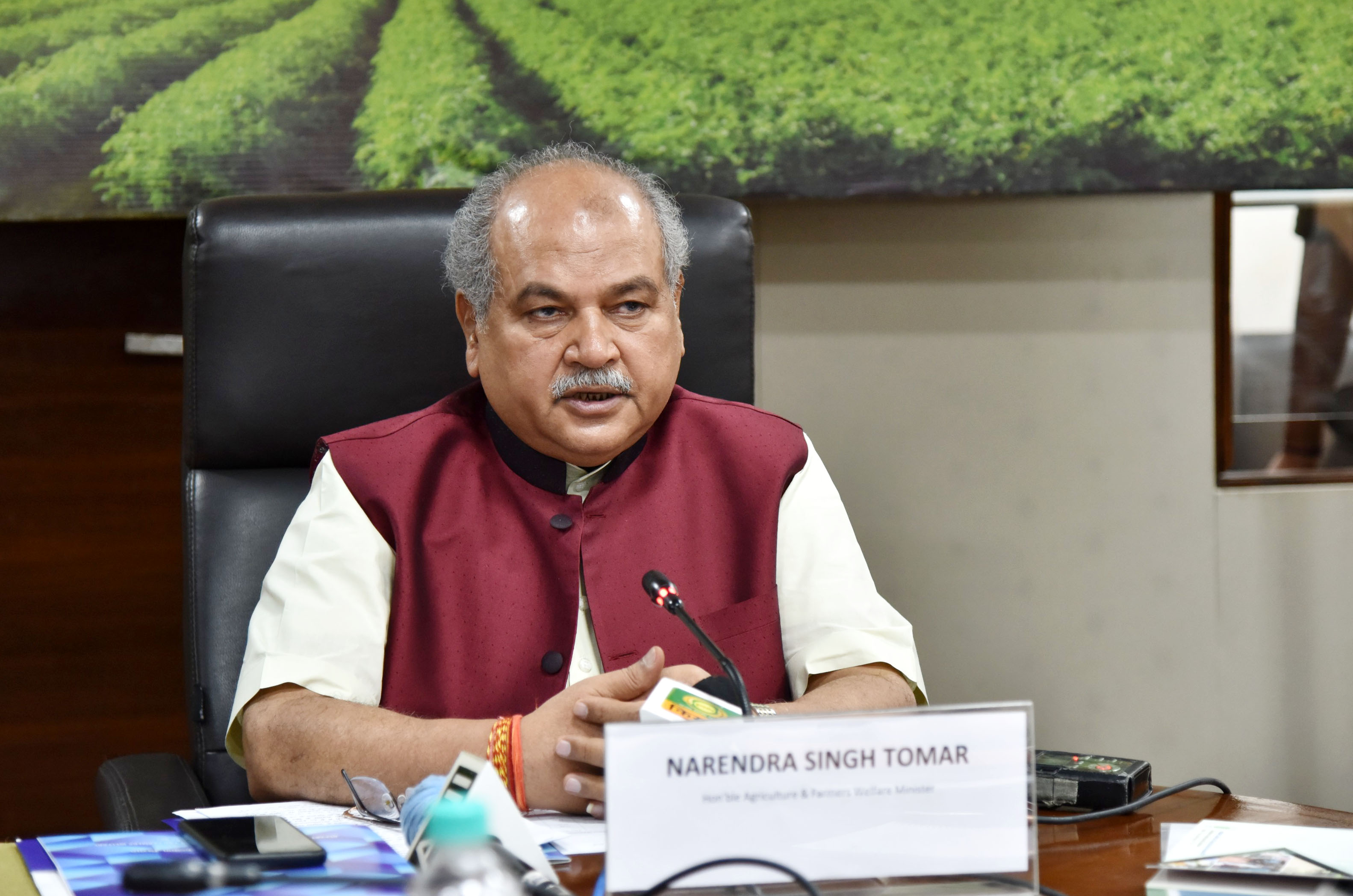 The Union Minister for Agriculture & Farmers Welfare, Rural Development and Panchayati Raj, Shri Narendra Singh Tomar addressing at the 92nd ICAR Foundation Day & Award Ceremony through virtual platform, in New Delhi on July 16, 2020.