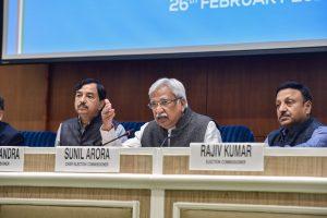 New Delhi: Chief Election Commissioner Sunil Arora (C) with Election Commissioners Sushil Chandra (L) and Rajiv Kumar addresses a press conference in New Delhi, Friday, Feb. 26, 2021. (PTI Photo/Manvender Vashist)