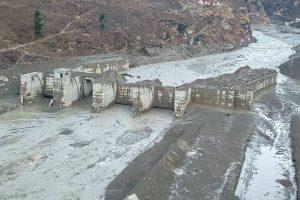 Chamoli: Damaged Dhauliganga hydropower project after a glacier broke off in Joshimath causing a massive flood in the Dhauli Ganga river, in Chamoli district of Uttarakhand, Sunday, Feb. 7, 2021. (PTI Photo)(PTI02 07 2021 000195B)
