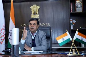 """The Minister of State for Power, New & Renewable Energy (Independent Charge) and Skill Development & Entrepreneurship, Shri Raj Kumar Singh holding a Press Conference on """"Electricity (Rights of Consumers) Rules, 2020"""" through video conferencing, in New Delhi on December 21, 2020."""