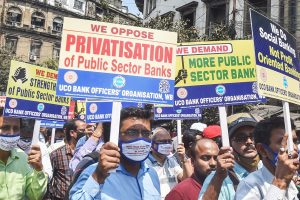 Kolkata: Bank employees participate in a rally to support the two-day nationwide strike, called by United Forum of Bank Unions (UFBU), against the proposed privatisation of two state-owned lenders, in Kolkata, Monday, March 15, 2021. (PTI Photo/Swapan Mahapatra)(PTI03 15 2021 000083B)