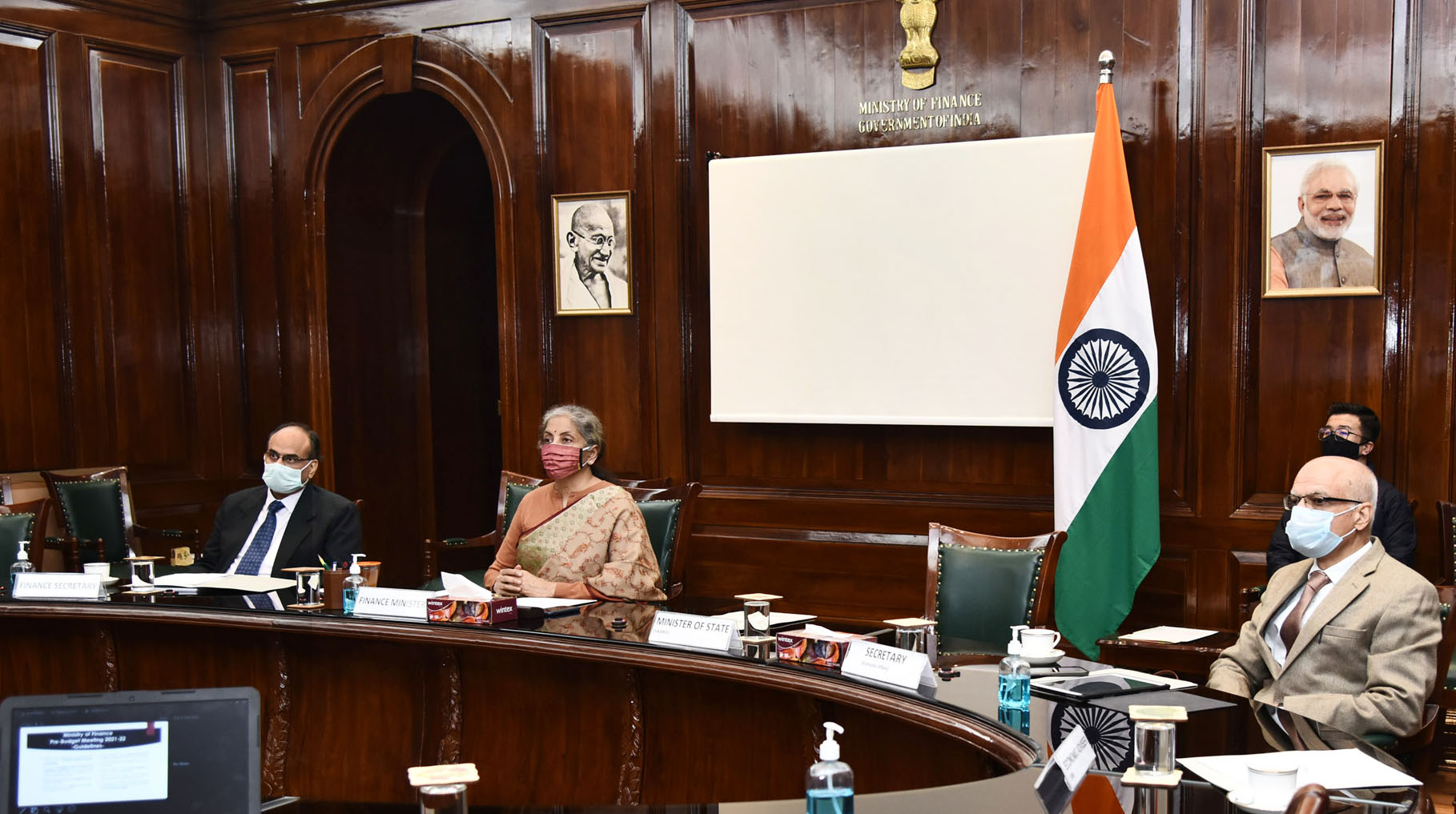 The Union Minister for Finance and Corporate Affairs, Smt. Nirmala Sitharaman chairing the Pre-Budget consultations with the leading experts in area of agriculture and agro processing industry, through video conferencing, in New Delhi on December 22, 2020.