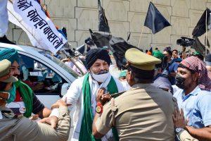 दिल्ली के गाजीपुर बॉर्डर पर किसानों के प्रदर्शन के दौरान भारतीय किसान यूनियन के नेता राकेश टिकैत के साथ पुलिस की हल्की झड़प भी हुई. (फोटो: पीटीआई)