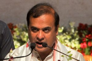 Guwahati: BJPs Himanta Biswa Sarma takes oath as the new Chief Minister of Assam, during his swearing-in ceremony at Srimanta Sankaradev Kalakshetra in Guwahati, Monday, May 10, 2021. (PTI Photo) (PTI05 10 2021 000059B)